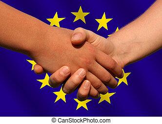 European deal - a handshake in front of a european flag