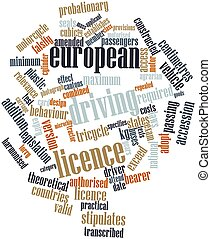 European driving licence - Abstract word cloud for European...