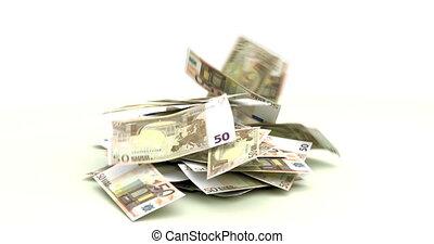 European Euros falling on white background