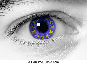 black and white close up of eye with blue europe flag