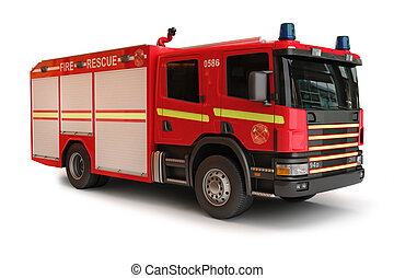 European Firetruck on a white background, part of a first...
