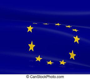 European flag, 3d image