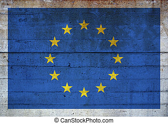 European flag - Flag of Europe over concrete wall background