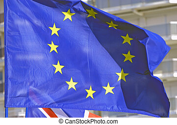 European flag floating with the wind...