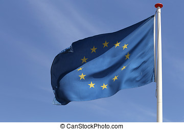 European flag flying in the wind