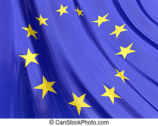 European Flag - Glossy Flag of European.