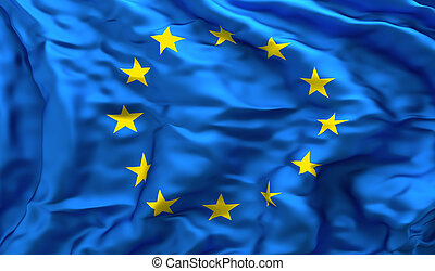 European flag in turbulent wind - Full frame background of...