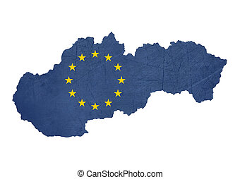 European flag map of Slovakia