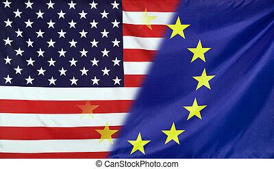 European Flag merged with Flag of USA