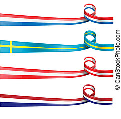 european flag ribbon flag set ioslated