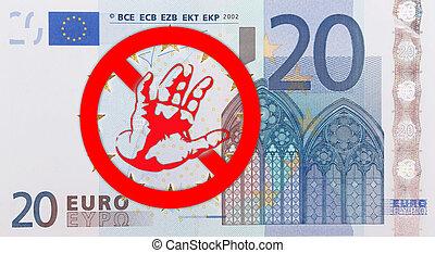 European flag - A European flag with a refusing hand and a...