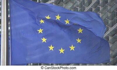European Flag waving slow motion at berlamont building in...