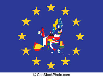 European flag with country flags