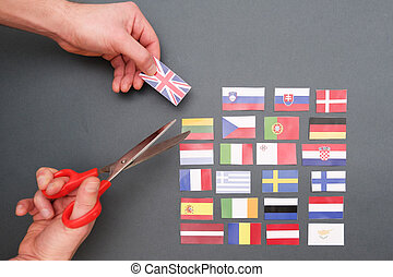 European flags and great britain flag on hands