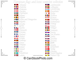 european flags and icons collection