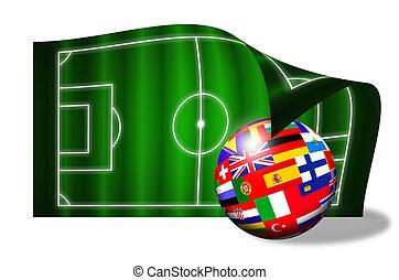european flags ball on soccer field over white