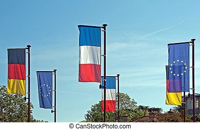 European flags blowing in the wind