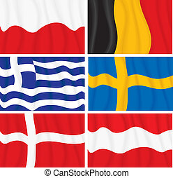 European Flags - Waving textile European flags
