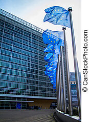 European flags in front of the Berlaymont building - EU flag...