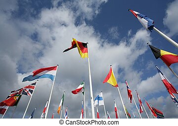 european flags in the wind and sun with gray sky