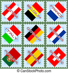 European flags on stamps