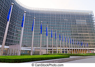 European Flags - Side view of European flags in front of the...