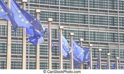 European Flags waving  slow motion