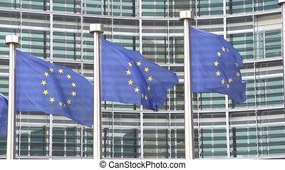 European Flags waving slow motion - Three European Flags...