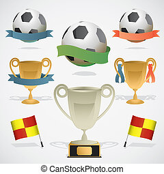 European footbal design elements: trophy, ball and referee...