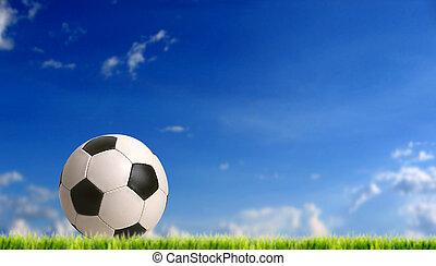 football - european football bal against blue sky