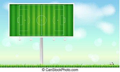 European football, soccer field on horizontal billboard. Field with markings on summer sky backdrop. Soccer ball lying in the grass. Resizable vector illustration for your, ready for print design