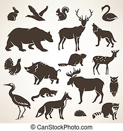 european forrest wild animals collection of stylized vector...