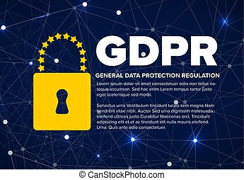 European GDPR concept flyer template illustration - dark...