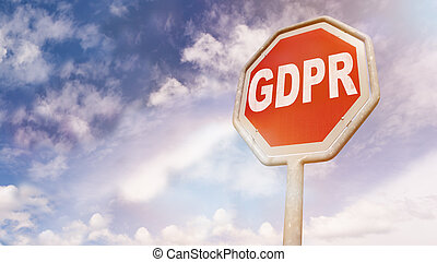 European GDPR law abbreviation on stop sign as warning - ...