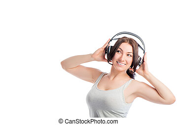 European girl with headphones on a white background