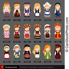 European girls in national dress.