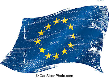european grunge flag - flag of Europe in the wind with a...