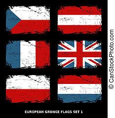 European Grunge Flags - Flags of 6 European countries.
