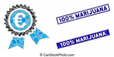 European Guarantee Seal Mosaic and Grunge Rectangle Stamp Seals