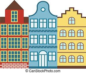 European houses vector illustration.
