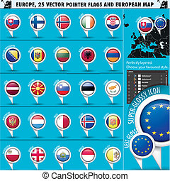 European Icons Round Indicator Flags and Map Set2. EU Europe...