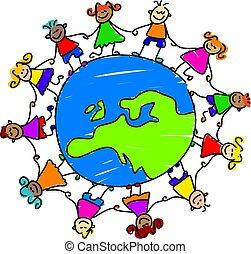 european kids - kids holding hands around the globe showing...