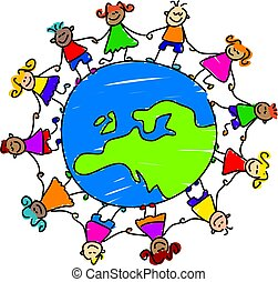 kids holding hands around the globe showing map of Europe - toddler art series