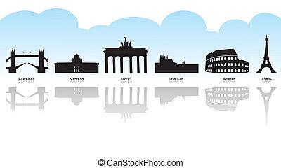 Black silhouette of main european landmark with reflection.