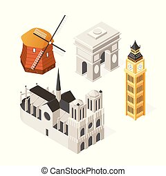 European landmarks - colorful isometric set of objects