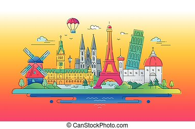 European landmarks flat design composition