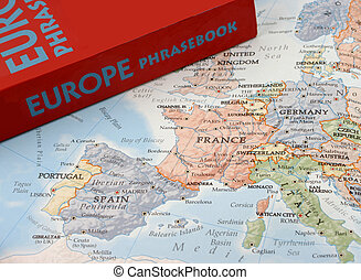 map and european language book