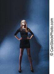european-looking, meisje, van, twintig, jaren, in, bril, vervelend, een, dres