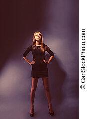 european-looking, meisje, van, twintig, jaren, in, bril, vervelend, een, jurkje