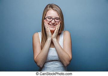 european-looking, meisje, van, twintig, jaren, met, bril, verrassing, ha